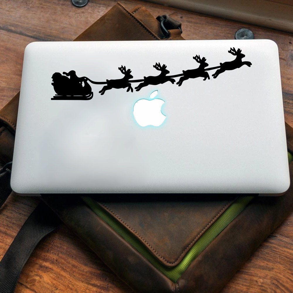 Father Christmas Sleigh Vinyl decal for MAC or PC sticker print perfect gift for any computer fan! Merry Gift Xmas Hat Apple (VS208)
