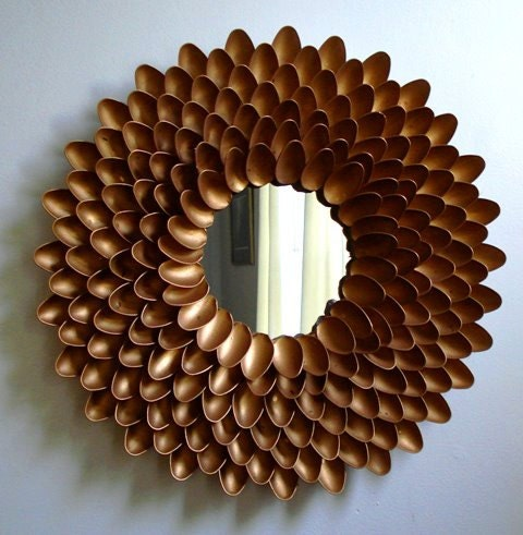 Items similar to handmade metallic flower mirror made from for Flowers made out of plastic spoons