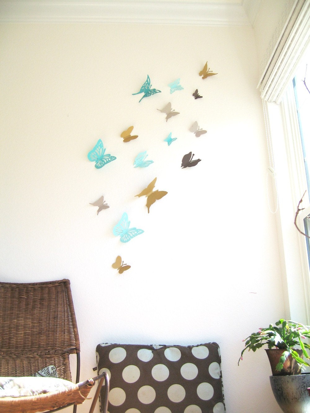 15 Butterflies, Aqua, Blue, Turquoise, Brown, Gray,Paper, Wall Decor, 3D, Nursery, Baby, Wedding Decor, Shower, Girls Room, Cardstock