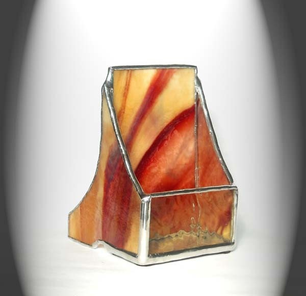 Beige And Red Vertical Stained Glass Business Card Holder