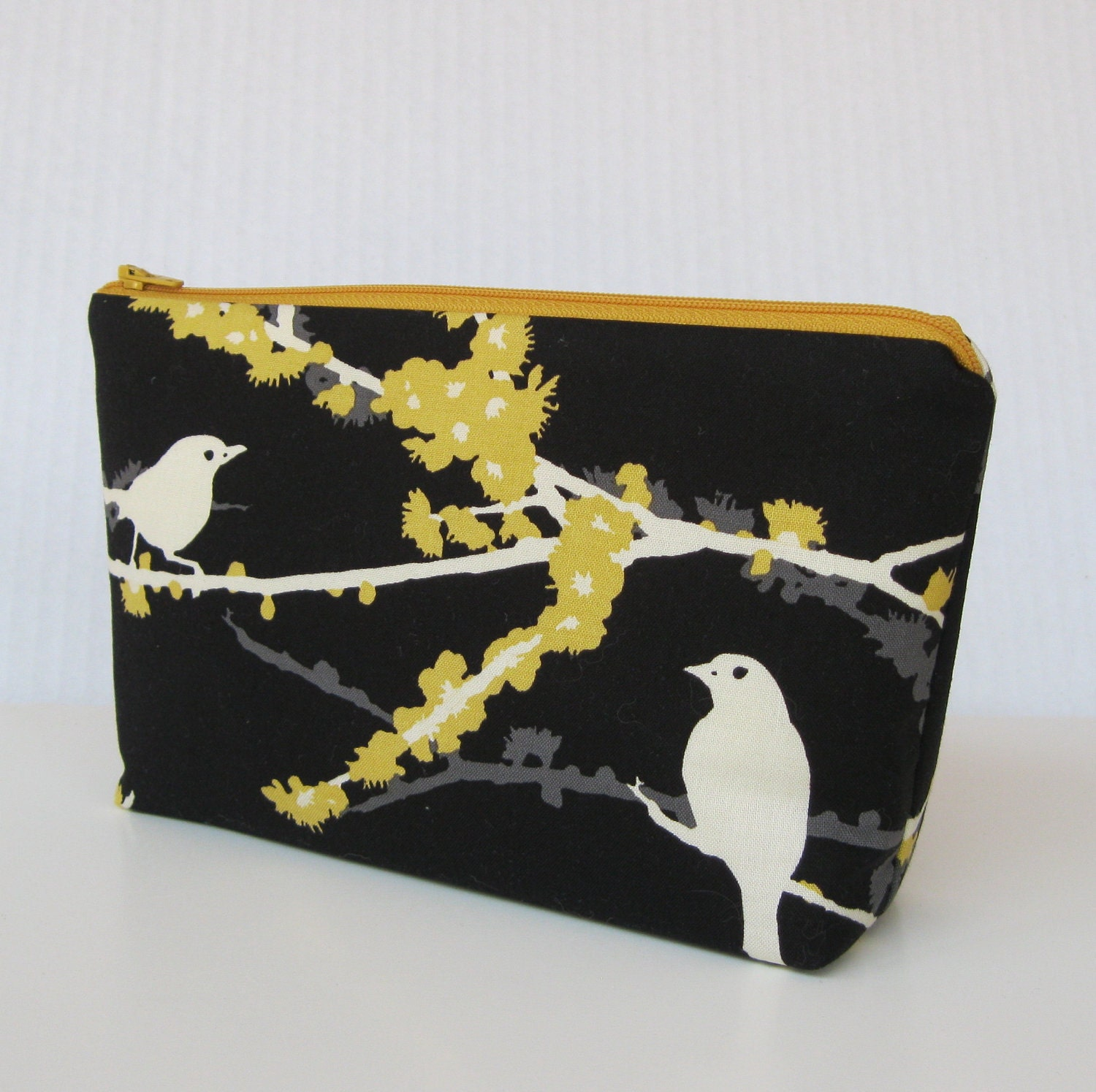Fabric Zippered Pouch Clutch Bag - Sparrows in Cavern - Aviary Collection - READY TO SHIP