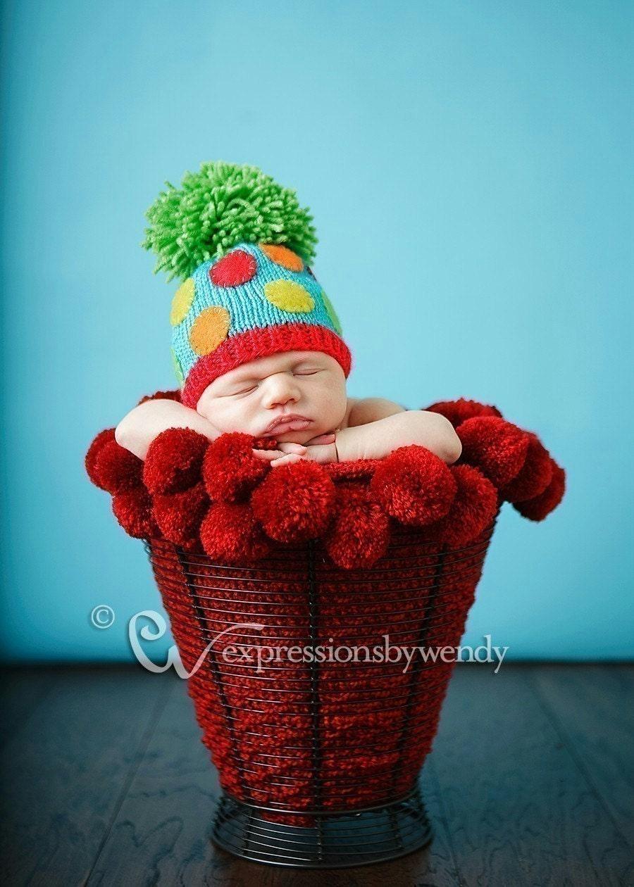 GREEN POM POM Dottie Hat Newborn Size - Made to order only