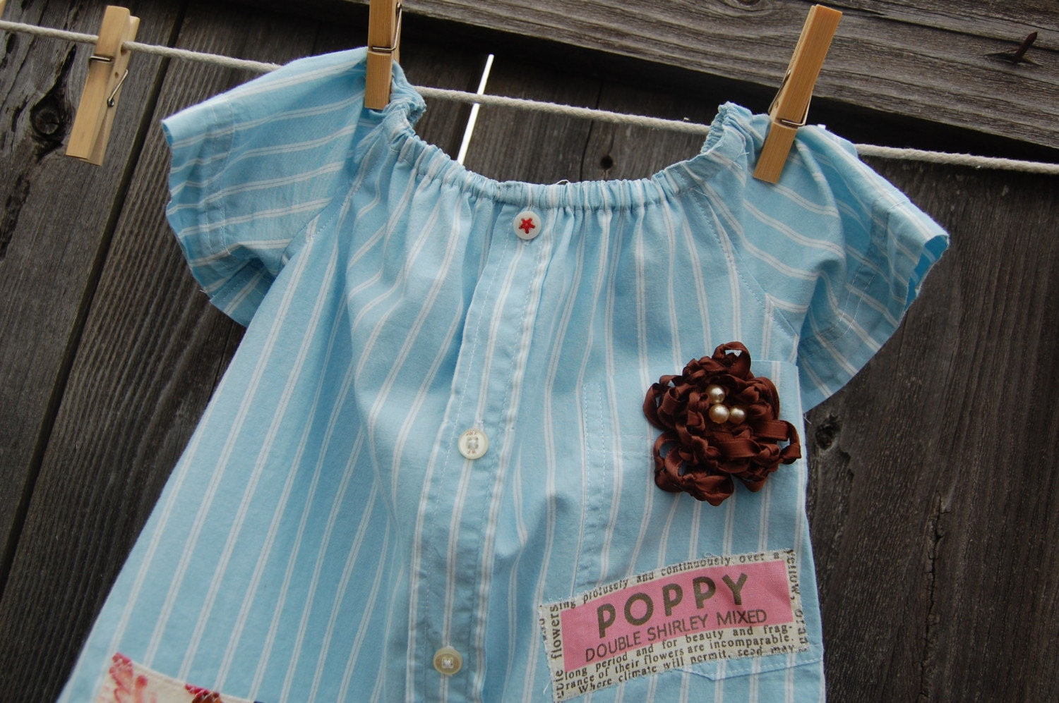 UPcycled Spring Garden Peasant Dress 12 to 18 mo