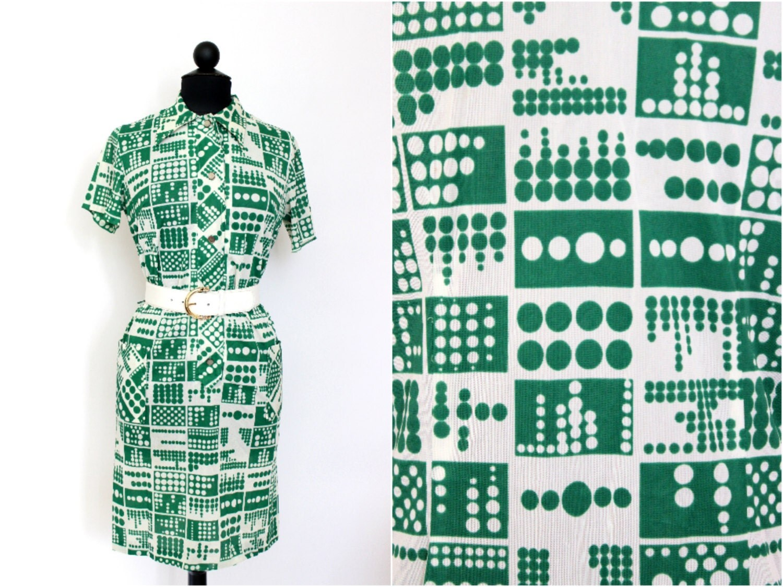 Sleeved Dress / 1970s 70s / Womens Clothing / Mini Dress / Disco / Mod