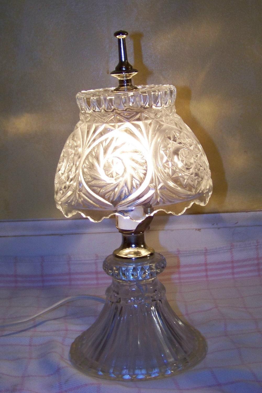vintage crystal table lamp night light by sandyseyecandy on etsy. Black Bedroom Furniture Sets. Home Design Ideas