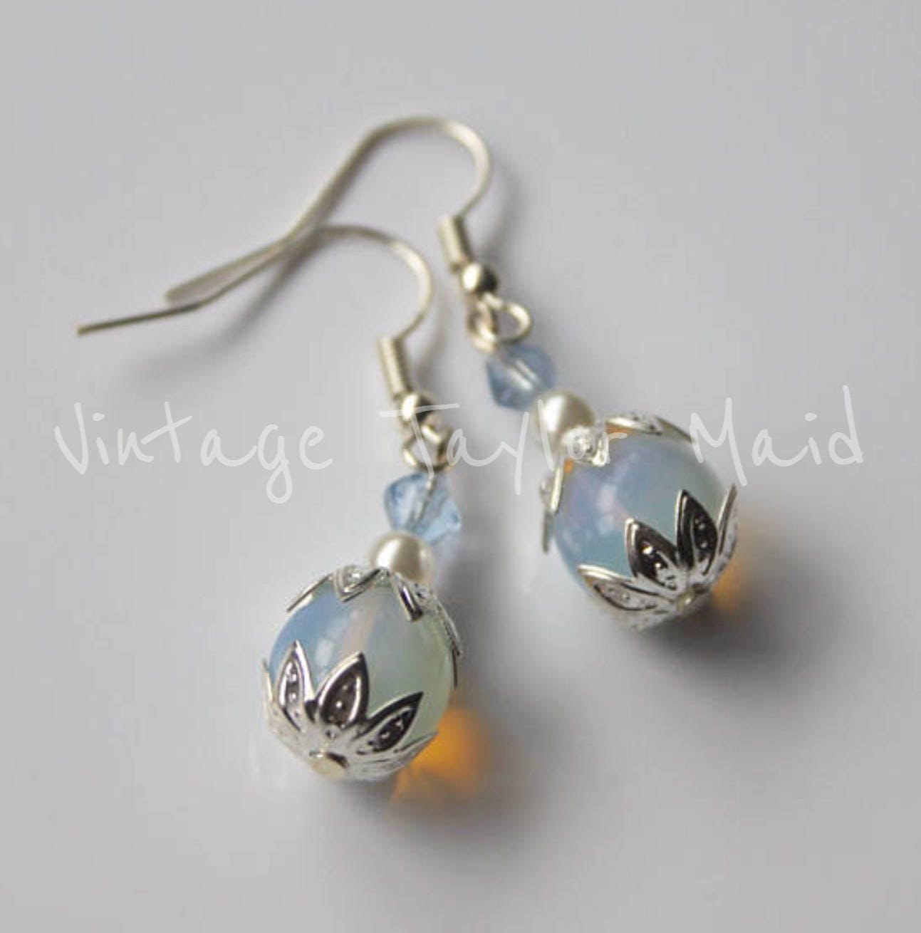 Silver plated earrings moonstone beaded ivory faux pearl pale blue faceted crystal fish hook