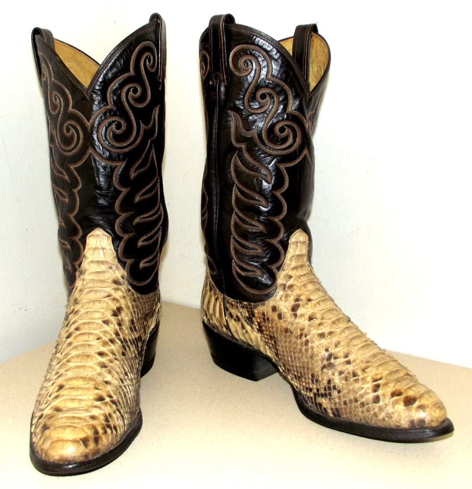 Exotic Snakeskin Cowboy Boots Black Leather By