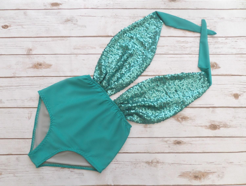 Swimsuit High Waisted Vintage Style  Jade Green Mermaid Sequin One Piece Retro Pinup Bathing Suit Swimwear Bachelorette Spring Break
