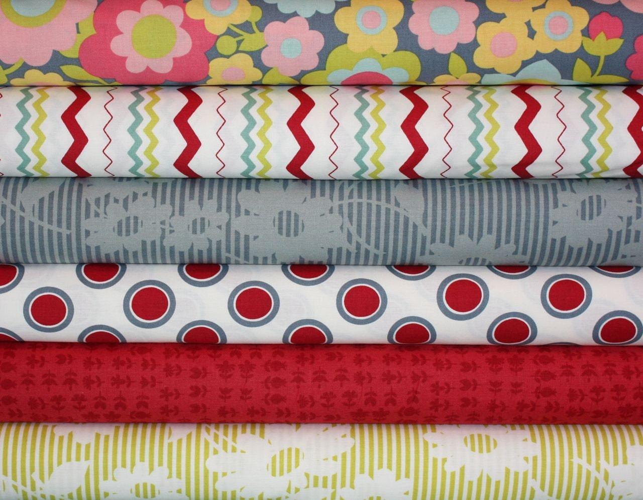 Hullabaloo Fabric by Urban Chiks for Moda Fabrics- Fat Quarter Bundle, 6 total