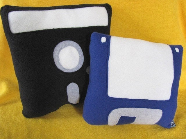 Floppy Disk Pillow Set Geek Chic Home Decor by freakyfleece
