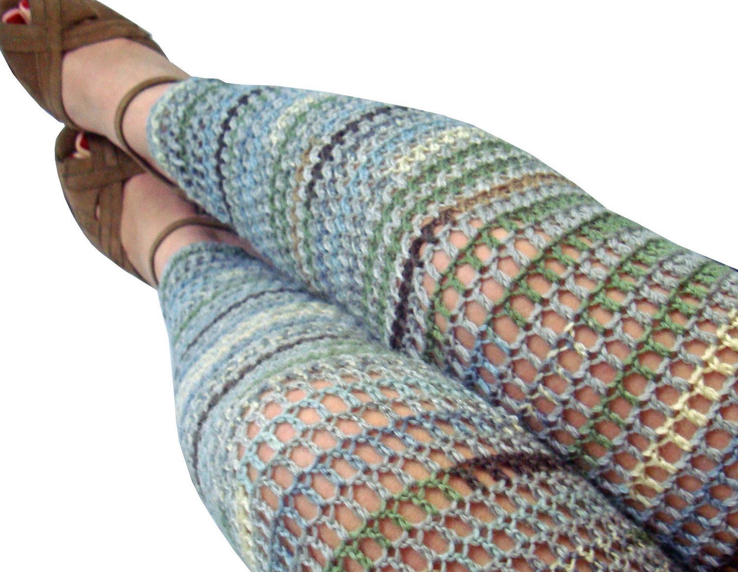 Military Blues Wool Crochet Leggings - Size  Medium - Footless Tights - onceovertwice