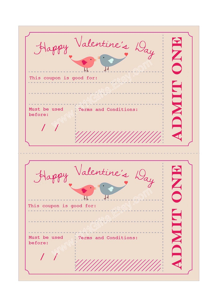 Printable Valentine's Day Coupons * Valentines Day for Him, Her, Kids ...