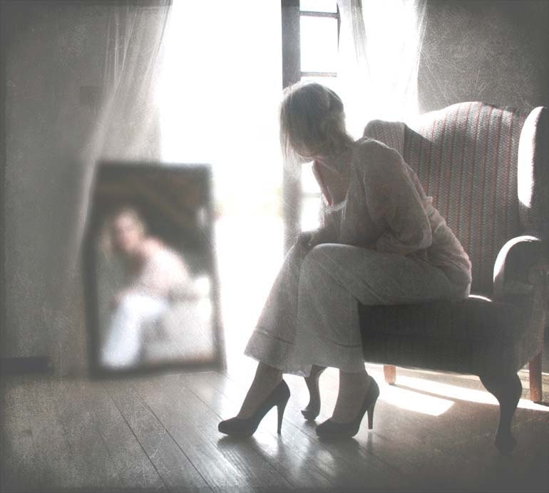 girl on antique chair with mirror reflection - fine art photograph - overexposed - fineheartworks