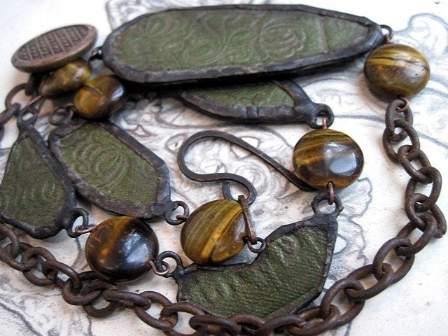 Before We Are Clay. Antique Soldered Bookboard Necklace.