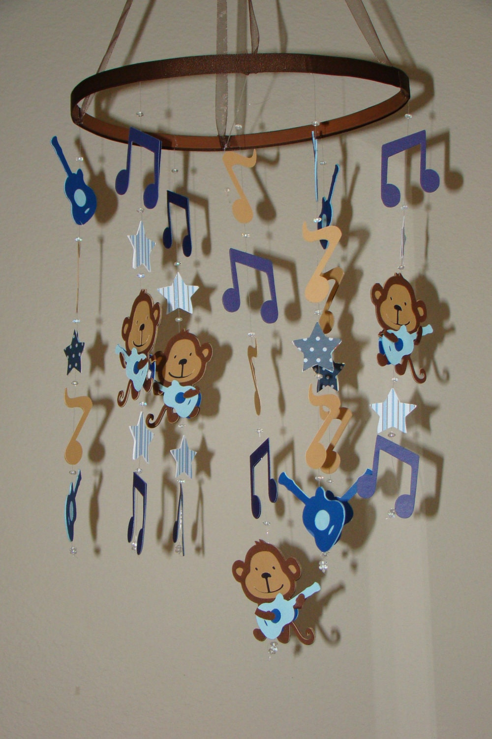 rock star monkey guitar music note baby mobile by magicalwhimsy. Black Bedroom Furniture Sets. Home Design Ideas