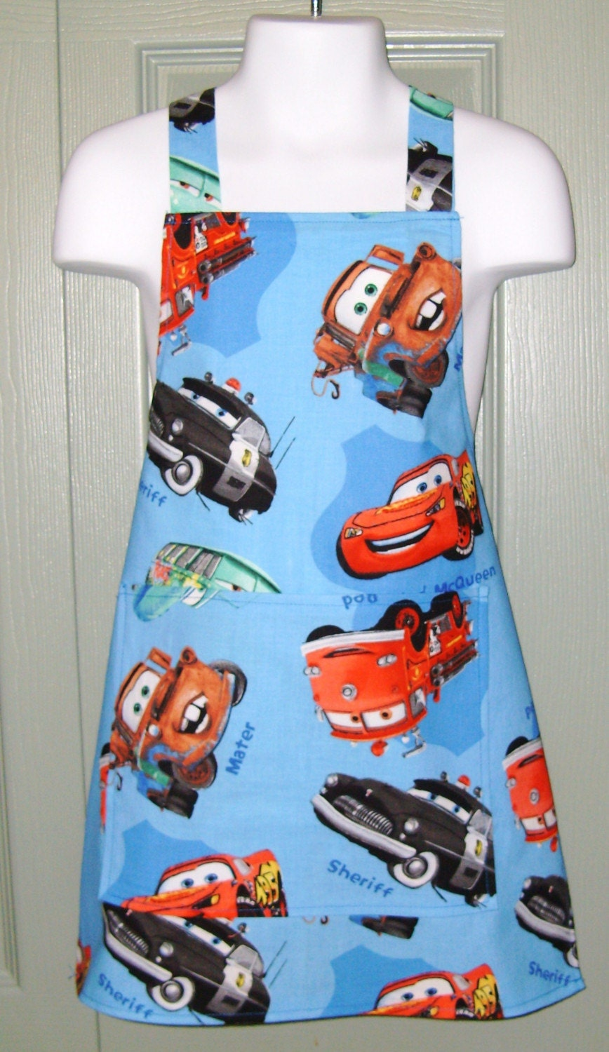 Disney Cars Child Bib Apron Lightning McQueen Tow Mater and Friends