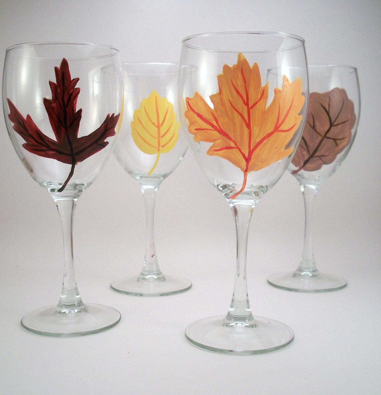 Fall leaves hand painted wine glasses Seasonal Autumn leaves painted stemware Autumn colors - set of 4 - RaeSmith
