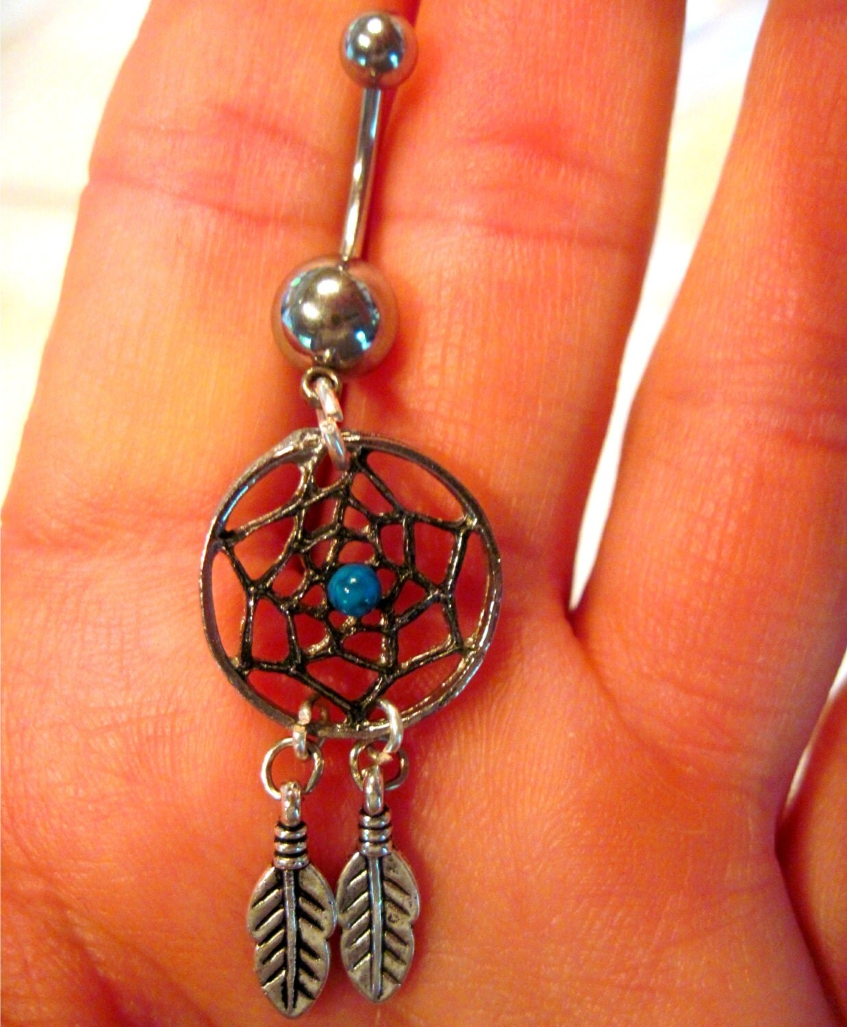 Navel Belly Button Ring Dream Catcher by ArianrhodWolfchild