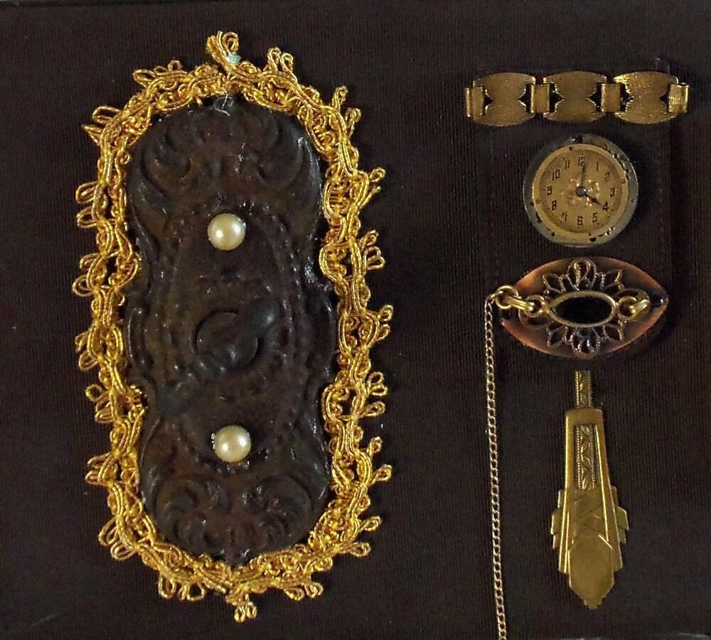 Victorian, vintage purse, clutch steampunk, embroidered compact mirror.