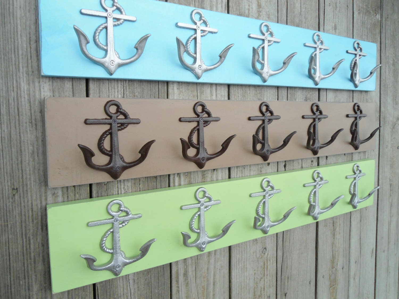 Items Similar To Beach Home Decor 2 5 Anchor Wall Hooks 10 Coat Rack Hooks Beach Towel Holders