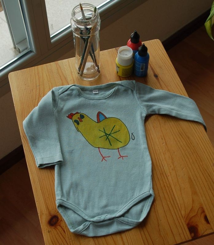 Enrieta  manegeable Hen - Cool emerald green long sleeve onesie