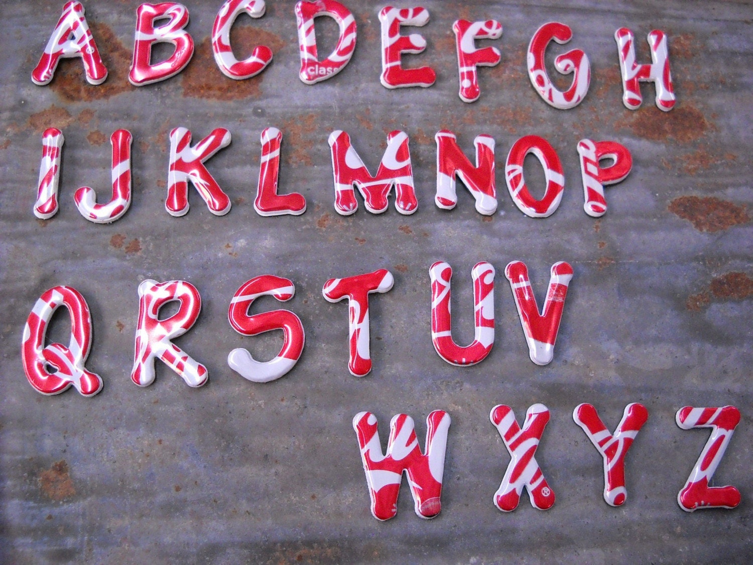 Recycled Coke Can Alphabet - Magnetic