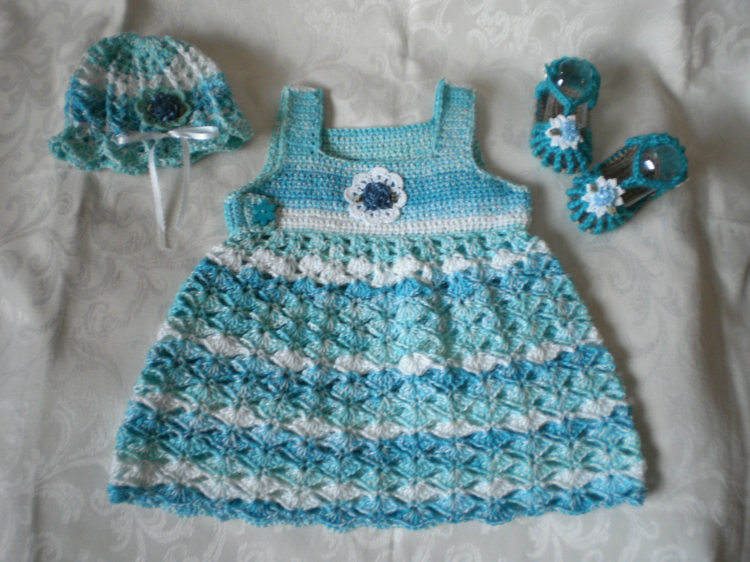 Blue Skies 3 Piece Dress Set in 6 to 12 Months - emjcreations