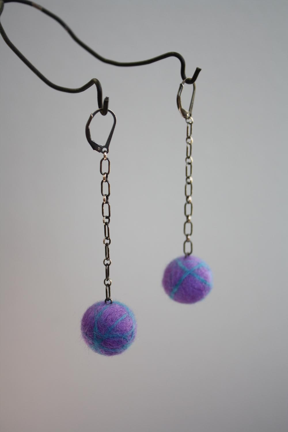 SALE - Felted Ball Earrings - Purple/Turquoise on Long Chain