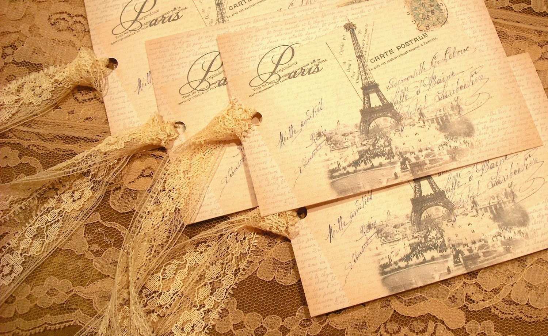 VINTAGE Вдохновленный французский / парижских Коллаж Подарочные Метки / Закладки