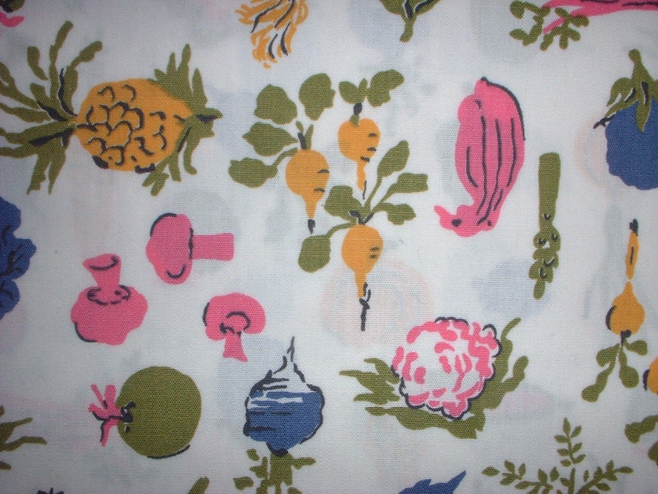 Vintage 60s Kitchen Fabric... Little Mushrooms Cute Kitchen Veggies Turnips...