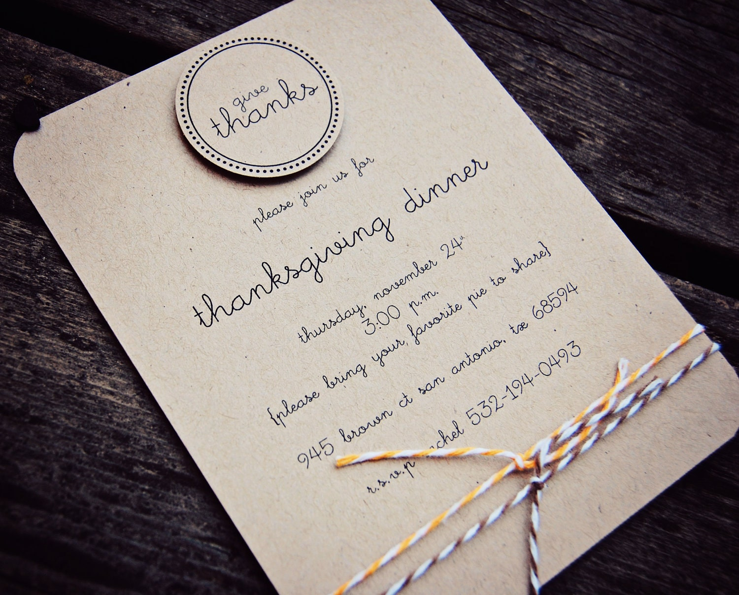 Thanksgiving Dinner Invitations (Give Thanks) - printed on kraft card stock w/matching kraft envelopes (12)