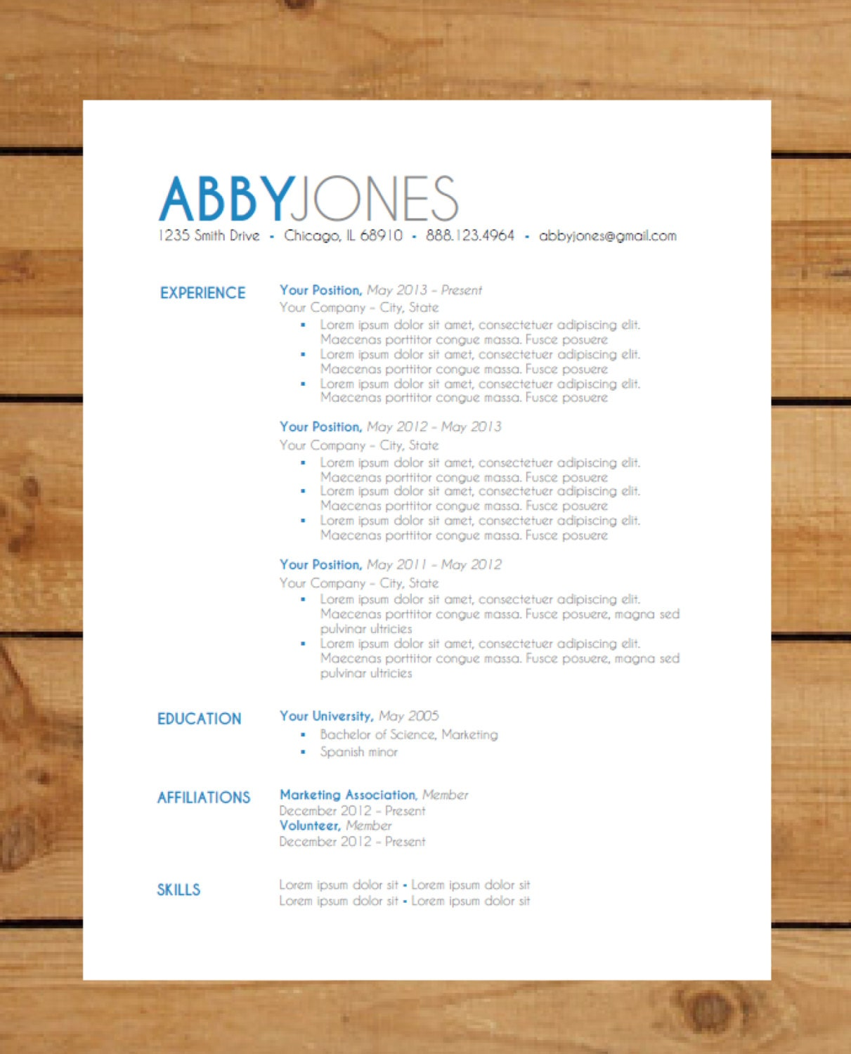 Example resume layout