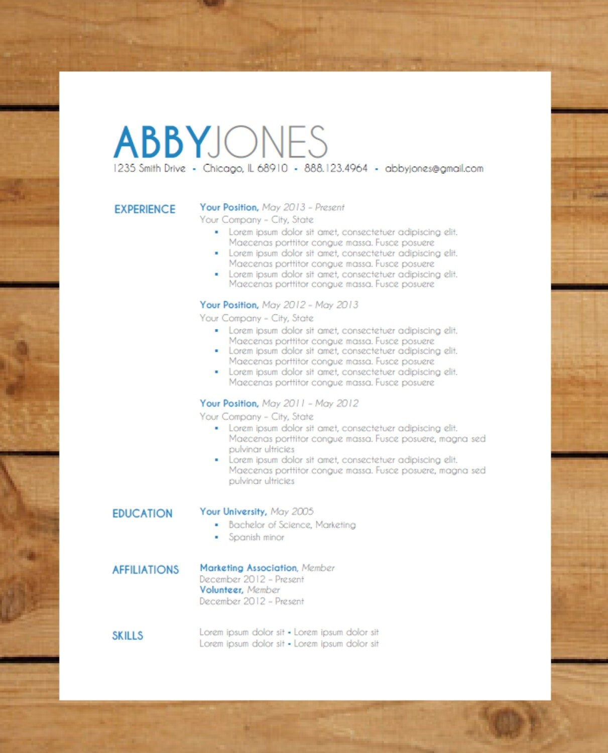 Modern resume template free