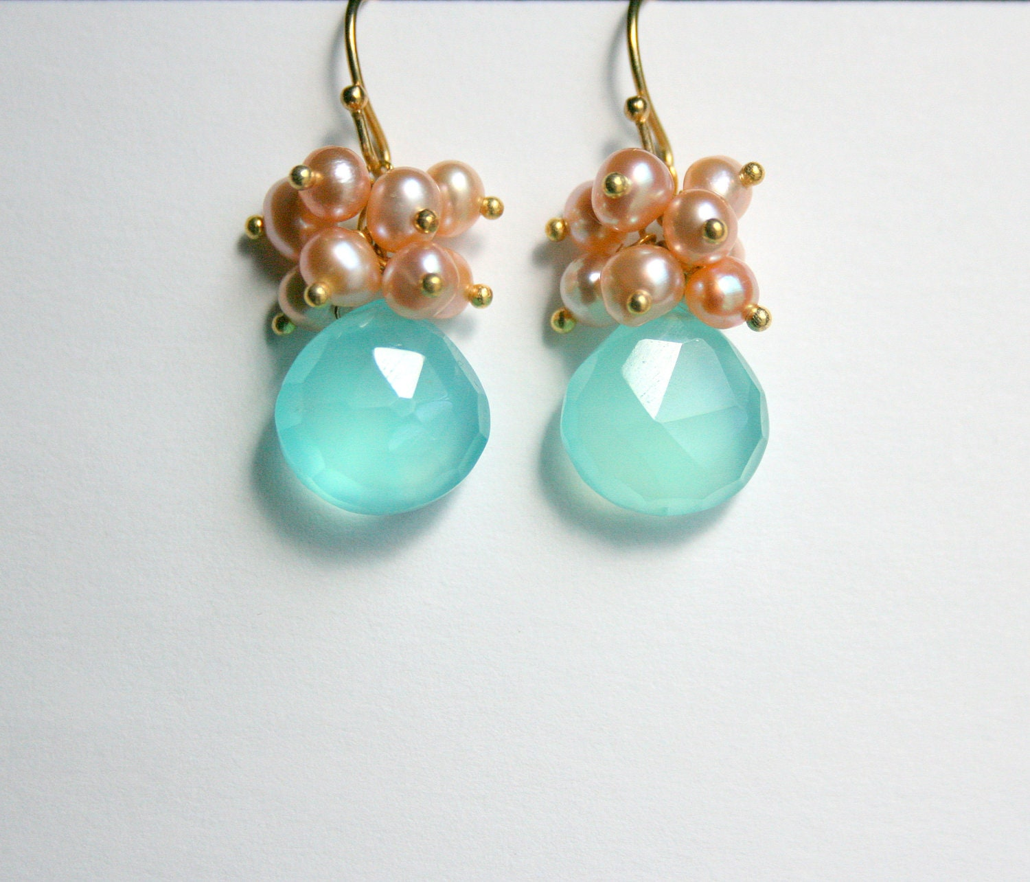 Aqua Teardrop Earrings, Peach Pearl Clusters, Gold Vermeil