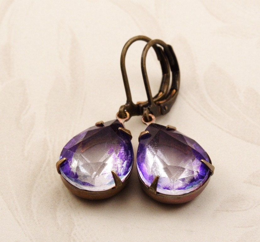 Vintage Glass Jewel Earrings - Amethyst Two Tone