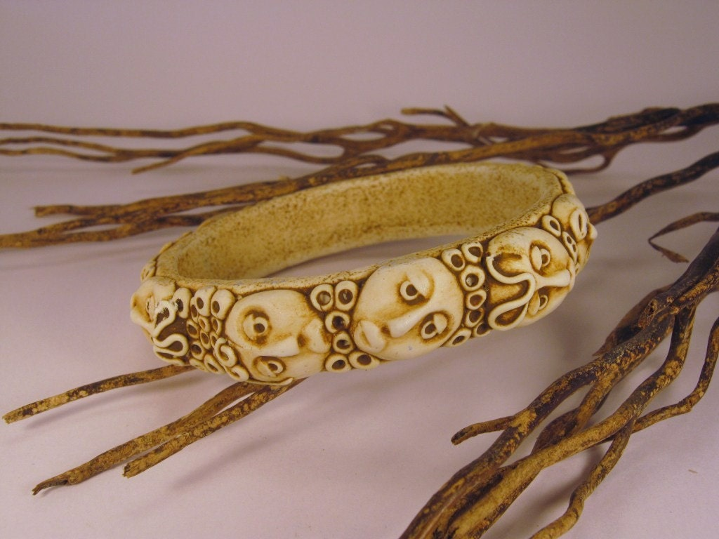 Antiqued African Style Bangle Handmade from Polymer Clay