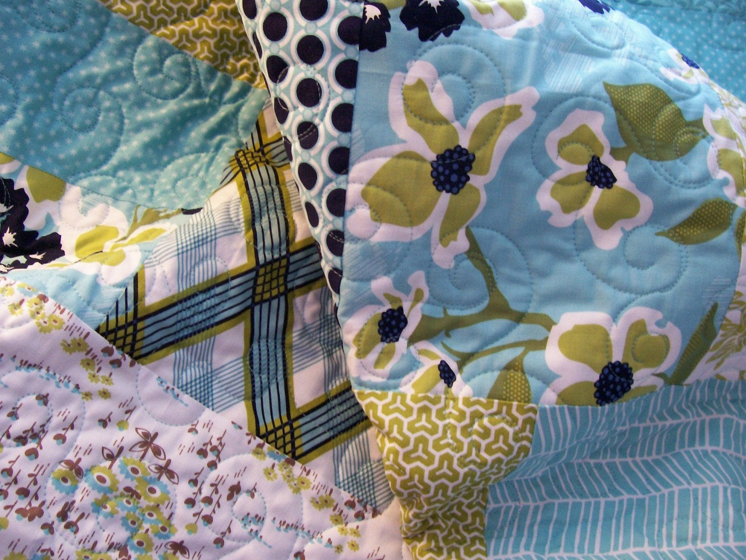 Baby Quilt - Soft Blues and Sage Greens (Free U.S. Shipping)
