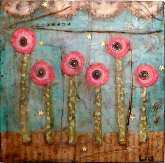 6x6 Beeswax Painting..Flower Snaps..Primitive encaustic Mixed Media piece