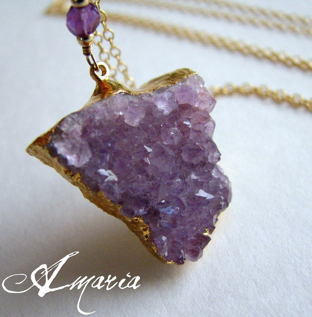 Amethyst druzy necklace by amaria on Etsy from etsy.com