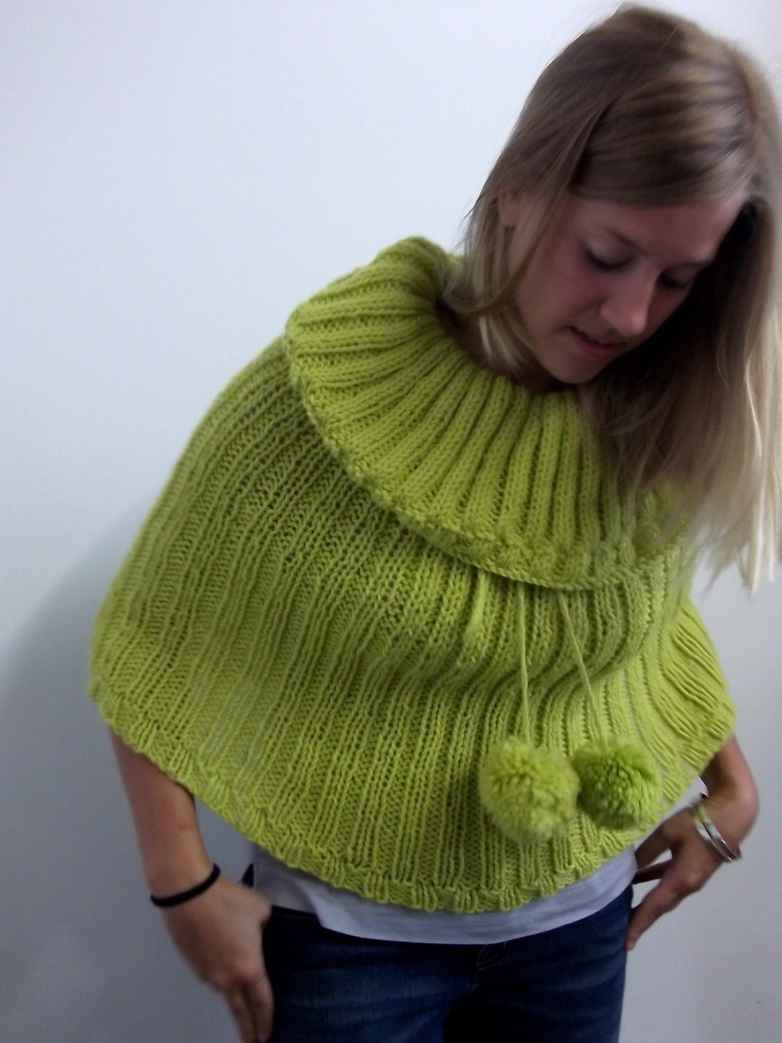 Lime green wool hand knit capelet with cowl neck