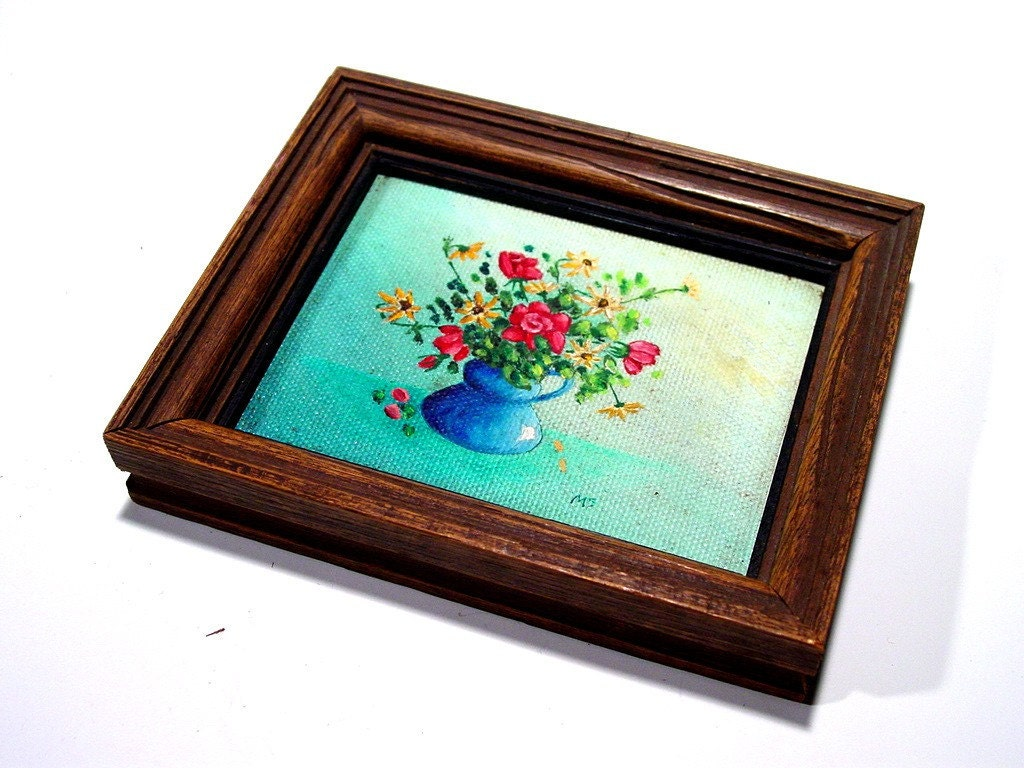 1970s  Original  Art Painting of Red Roses  Framed Miniature