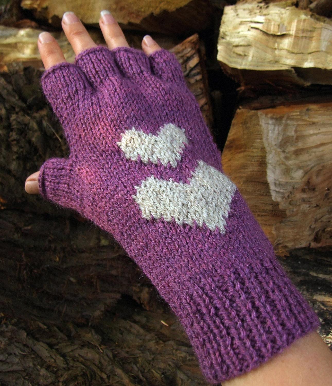 Knit Pattern Heart Mittens : Knitting Pattern Hearts Fingerless Gloves PDF by WoolnHook