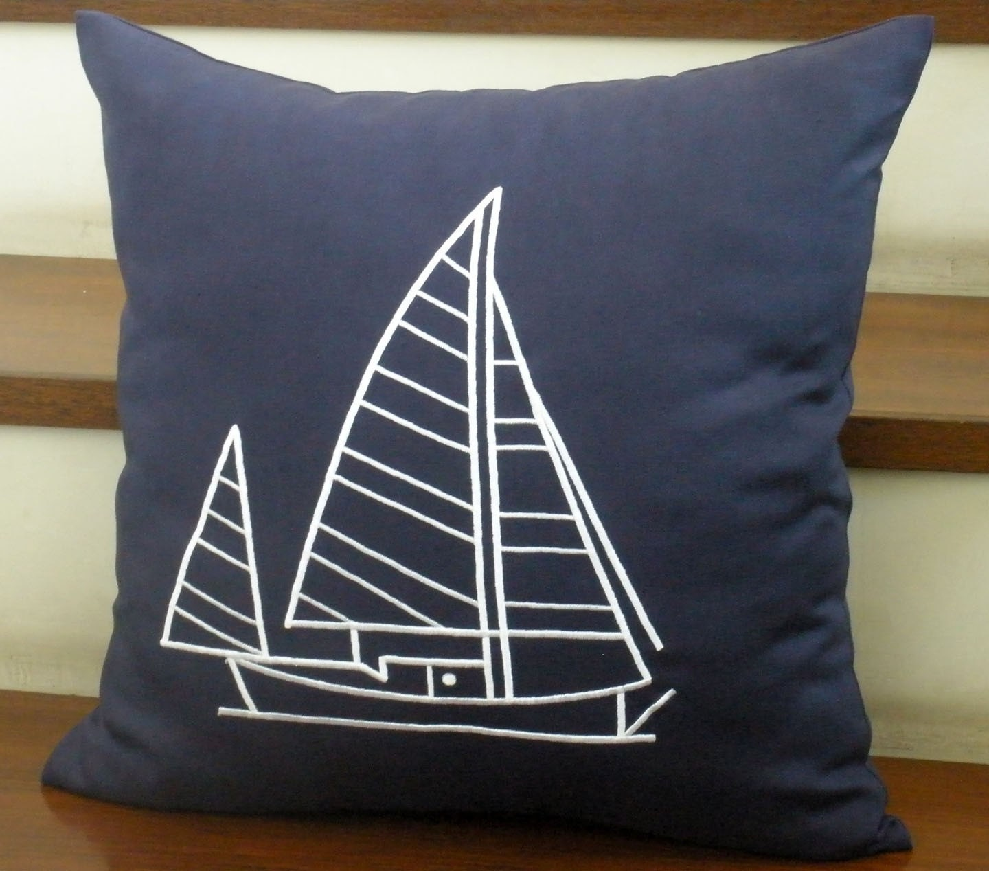 Navy Blue Linen with Sailing Ship Embroidery  Pillow Covers