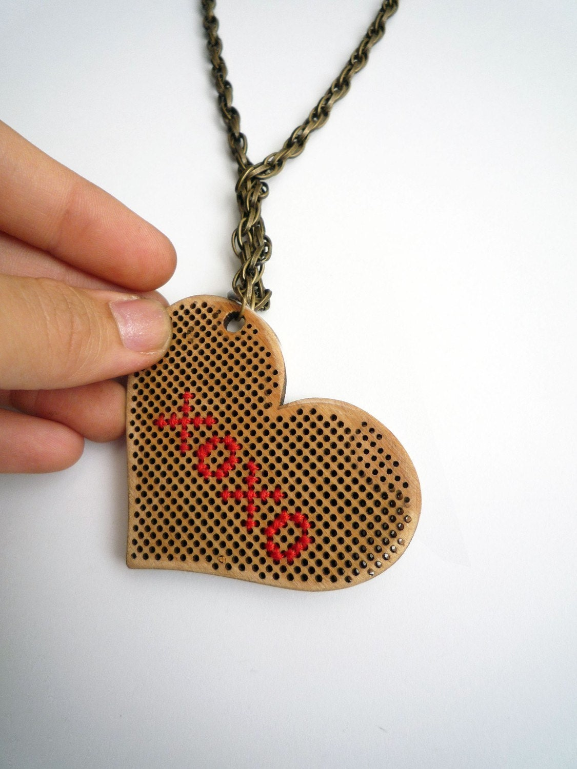Cross Stitch Heart Necklace (personalize)