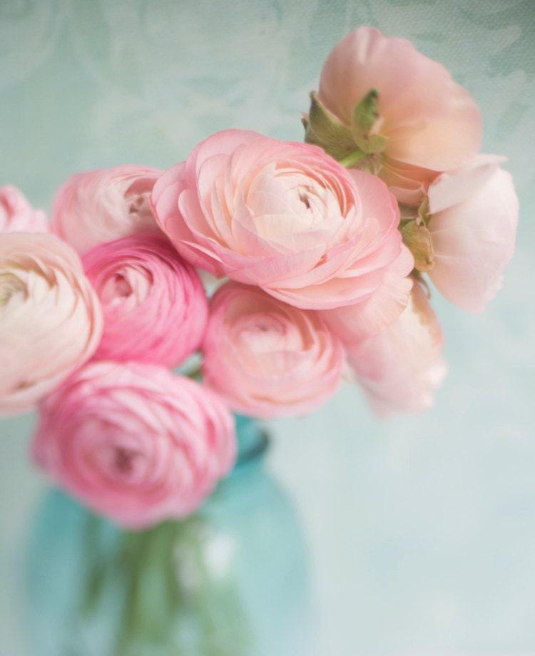 Ranunculus Photography -  Romantic Pink Flowers, Floral Photograph, Shabby Wall Decor - GeorgiannaLane
