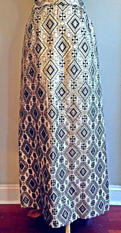 Wool metallic brocade maxi skirt 1960s
