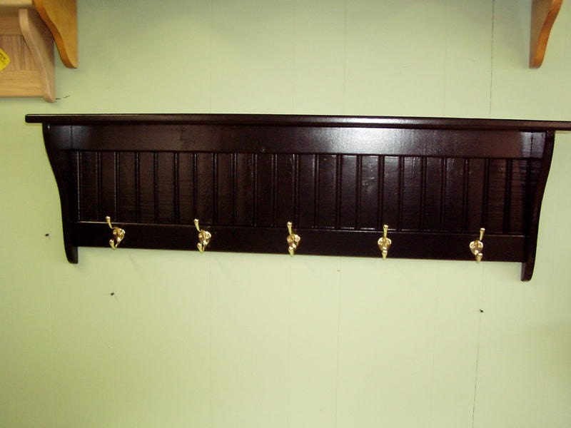 Wood Coat Rack Wall Shelf Black 42 Inches by