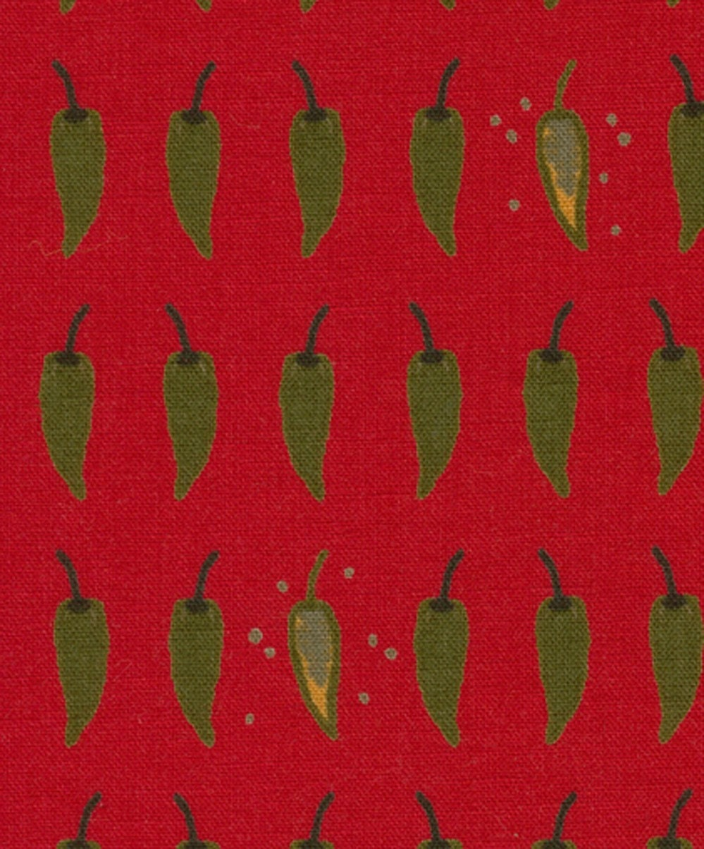 Green Chilli on Red - Japanese Fabric Half Yard