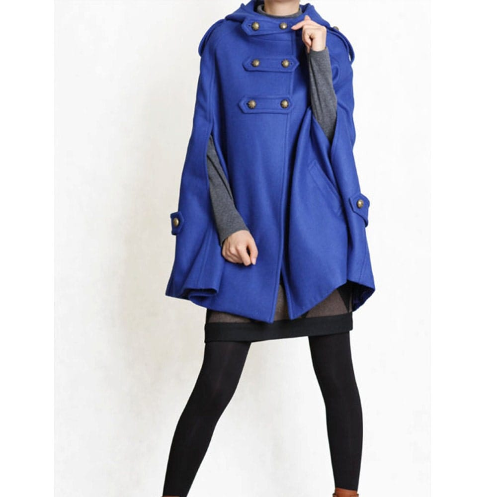 BLUE cape Wool Cape Cashmere coat BLUE coat double breasted button coat winter coat Hood cloak Hoodie cape Hooded Cape/ FM003D
