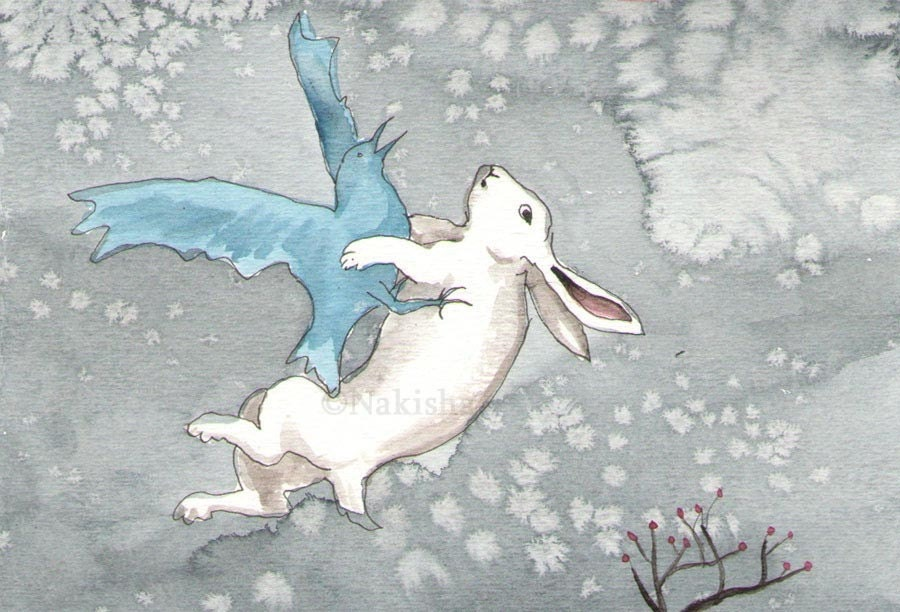 Bunny and Blue Bird- number 11- Original watercolor painting
